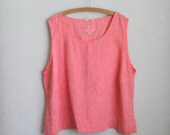 Pink Linen Top Sleeveless Peach Blouse Summer Shirt Plus Size Extra Large