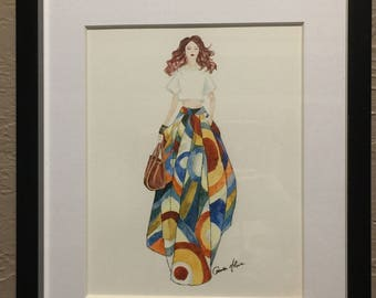 Framed original watercolor painting Fashion Runway 8x10 in mated frame