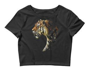 Tiger Beautiful Big Cat Vintage Design Women's Crop Top Tee