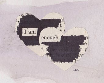 "I Am Enough - 3""x3"" Mantra Magnet  - Blackout Poetry and Tea"