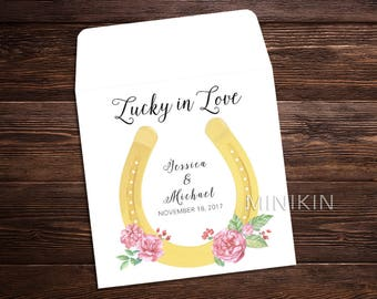 Lottery Ticket Favor, Lucky In Love, Lucky Horseshoe, Bridal Shower Favor, Wedding Favor Thank You, Personalized Lucky In Love  x 25
