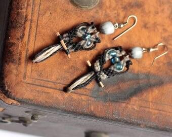 SALE: Brown & Black Bird Earrings, Macarame Earrings, Bird Jewelry, Funky Owl Earrings, Parrot Jewelry, Made in Nicaragua