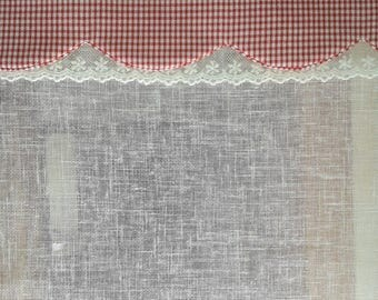 red gingham, lace and white polylin curtain
