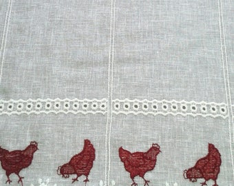 linen breeze curtain sheer ready to install with his hens Kiss