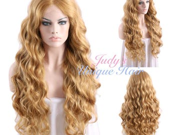 Long Curly Golden Blonde Lace Front Synthetic Hair Wig