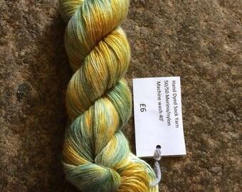 Hand dyed Sock yarn 50/50 merino/nylon