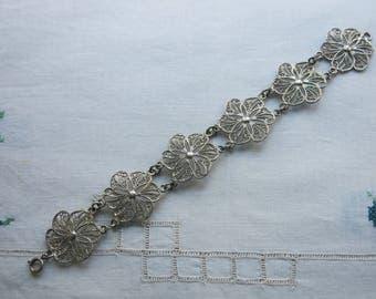 Silver filigree panel bracelet
