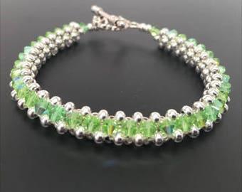 Peridot Bracelet, Swarovski Crystals, Swarovski Crystal Bracelet, Silver Bracelet, Woven Bracelet, Beaded Bracelet