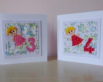 Fairy card, girl 3rd birthday, 4th birthday card, fairy birthday, girl 3, 4 today, children's birthday card, card 3 today, girl 4 card,