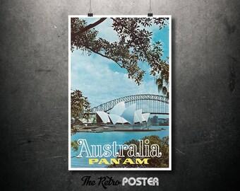Sydney Opera House, Australia, Pan Am Vintage Travel Poster, Wanderlust, Travel Prints, Travel gift, Travel Decor, Travel Poster Prints