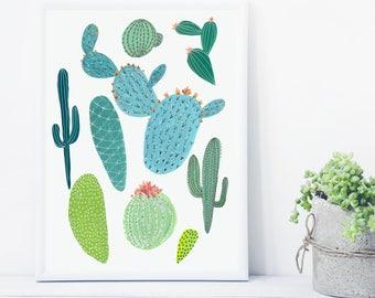 Cactus Print, Potted cactus print, succulent print, dancing cactus, cactus pattern, botanical print, tropical print, cactus acrylic painting
