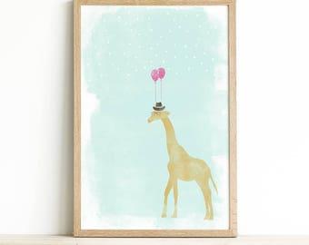 Nursery Wall Giraffe - Giraffe Print Art - Safari Nursery Decor - Giraffe Art for Kids - Giraffe Kids Art - Giraffe Baby Nursery Artwork