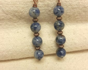 Sodalite dangle earrings w/copper beads and earwires