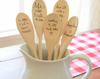 Custom Wood Spoon | Personalized Wood Burned Kitchen Spoons | Bridal Shower and Housewarming Gift