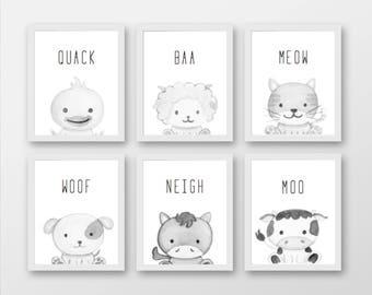Set 6 Farm Animal Prints - Black/White & Colour images