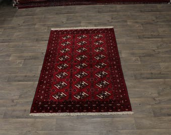 Fine Quality Handmade Wool Red Turkoman Persian Area Rug Oriental Carpet 4X6