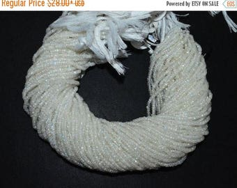 "50% OFF White Rainbow Moonstone Faceted Rondelle Beads , 13"" Strand - White Rainbow Moonstone Rondelle , 3 mm , MC1155"