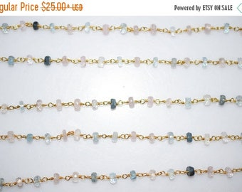50% OFF Multi Aquamarine Flat Rondelle Rosary Beaded Chain-Multi Aquamarine Faceted Wire Wrapped Beaded Chain , 4-4.25 mm - RB5340
