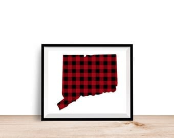 Connecticut - Buffalo Plaid -  8x10 Connecticut print, Connecticut print, Connecticut printable, 8x10 printable art, buffalo plaid print