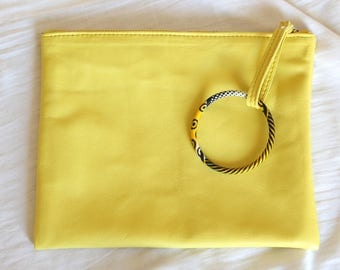 Leather clutch / yellow / wax / barcelet / African / evening pouch