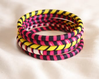 Bracelet wax yellow, pink and black fabric / colorful bangles bracelets