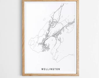 Wellington Minimalist Map Print / New Zealand / City Print / NZ Maps / Giclee Print / Poster / Black and White