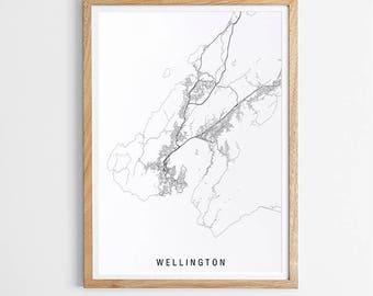 Wellington Minimalist Map Print / New Zealand / City Print / NZ Maps / Giclee Print / Poster / Black and White