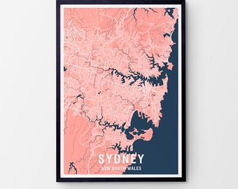 Sydney City Map Print Various Colours - Two-tone / New South Wales / Australia / City Print / Australian Maps / Giclee Print / Poster