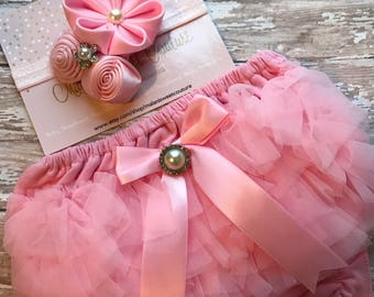 Pink Baby Ruffle Bum Bloomers and Pink Headband Set