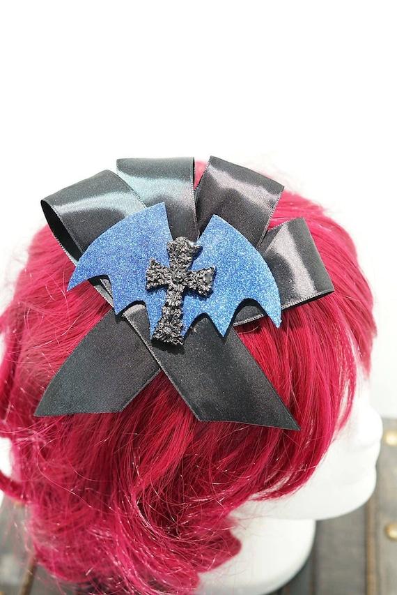 Gothic cross blue bat black bow hairpin brooch / bat black loop with resin cross hair clip and brooch