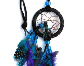 Dream Catcher for Car / Small Dream Catcher / Turquoise Blue / Purple / Black Leather / Webbed Dream Catcher / Amethyst and Turquoise Stone