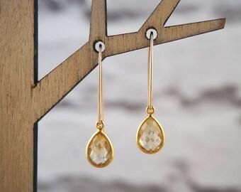 Citrine Earrings, Gemstone Earrings, Birthstone Earrings, Gold Earrings, Gift Earrings, Citrine Jewelry, Gemstone Jewelry, November Gift