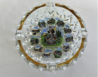 Black Forest Ashtray Memento Featuring Towns in Black Forest or Schwarzwald Tobacciana Item