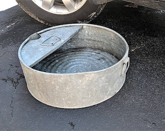 Oil Drip Pan Oil Changer Pan Galvanized with Handles for Carrying Very Large Hole for Pouring