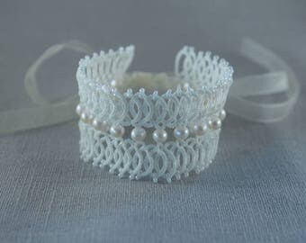 Large bridal bracelet - bridal cuff - romantic wedding- bride lace jewelry -Lace bracelet freshwater pearls - cultured pearls - couture lace