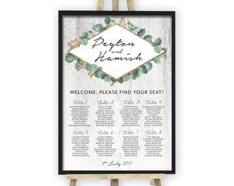 PRINTED Wedding Seating Chart, Greenery Geometric Seating Chart, Seating Plan, Wood, Botanic, Rose Gold, Reception, Garden, Rustic (Peyton)