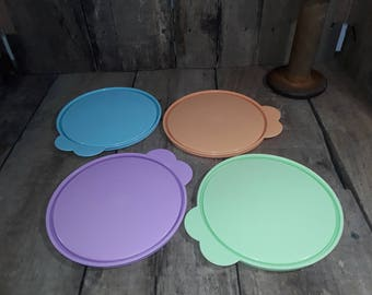 """Tupperware 155-55 C Seal 6"""" Round Cereal Bowl Seal Pastel Colors  Butterfly Tap Easy Pull Lid Replacement Coves"""