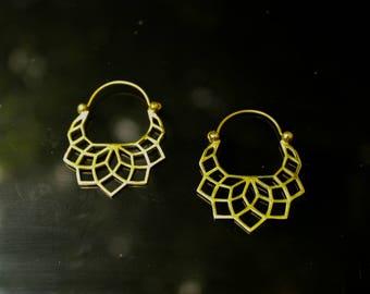 Brass geometric lotus flower earrings