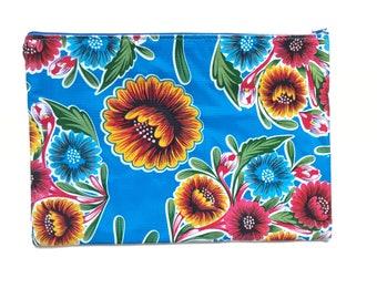 Oil cloth clutch, Oil cloth bag, Oil cloth pouch, Mexican wallet, Wallet cloth, Oil cloth zipper pouch, Zipper cosmetic oil cloth