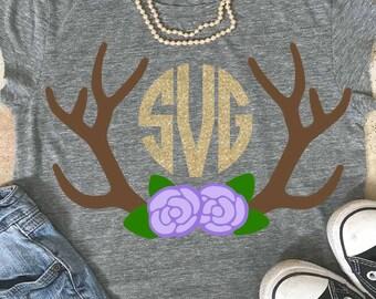 Antlers monogram svg, antlers svg, Floral antlers, svg, teacher svg, Flower svg, Cutting File, hunting svg, deer antlers svg, boho antlers