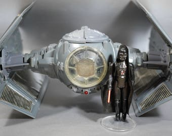 Vintage Star Wars Darth Vader Tie Fighter with Working Electronics + Action Figure by Kenner