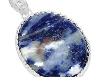 Sodalite stone sterling silver pendant... Intuition