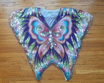 Stella vintage butterfly multicolored sequin top