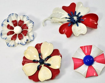 1960s patriotic flower brooches