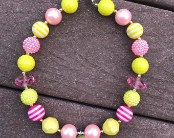 Lemonade chunky bead necklace bubble gum necklace pink lemonade necklace lemonade stand pink and yellow necklace lemonade birthday outfit