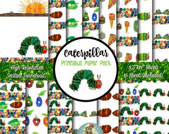 Very Hungry Caterpillar Scrapbook Paper, Very Hungry Caterpillar Printable Paper, Very Hungry Caterpillar Digital Paper, Caterpillars