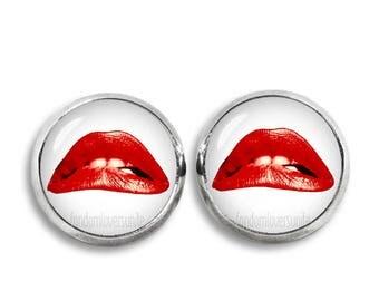 Red Lips Stud Earrings 12 mm Earrings  Rocky Horror Fandom Jewelry Cosplay
