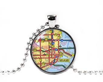 Miami Necklace Miami Map Pendant Miami City Map Necklace Map Florida Wander Travel Jewelry