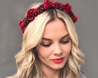 Bridal floral crown wedding flower crown wedding flower halo bridal flower crown red girl flower crown boho flower crown flower hair wreath