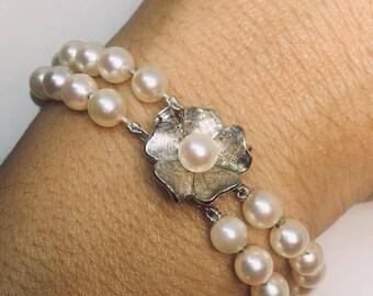 Vintage 14k white gold pearl bracelet